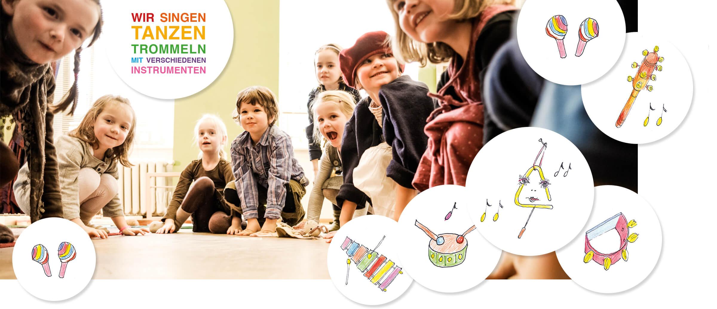 musikalische früherziehung viele Kinder schauen lachend in die Kamera